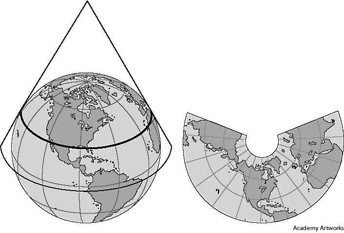 define map projection Each coordinate system is defined by the following: its measurement framework, which is either geographic (in which spherical coordinates are measured from the earth's center) or planimetric (in which the earth's coordinates are projected onto a two-dimensional planar surface).