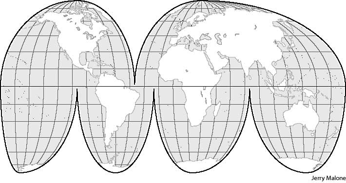 Homolosine projection define homolosine projection at dictionary distance and direction are not accurate for all areas of the map compare conic projection mercator projection sinusoidal projection gumiabroncs Image collections